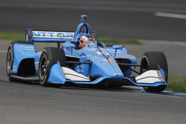 Felix Rosenqvist, of Sweden, steers his car during the warm-up session for the Indy GP IndyCar auto race at Indianapolis Motor Speedway, Saturday, May 11, 2019 in Indianapolis. (AP Photo/Darron Cummings)