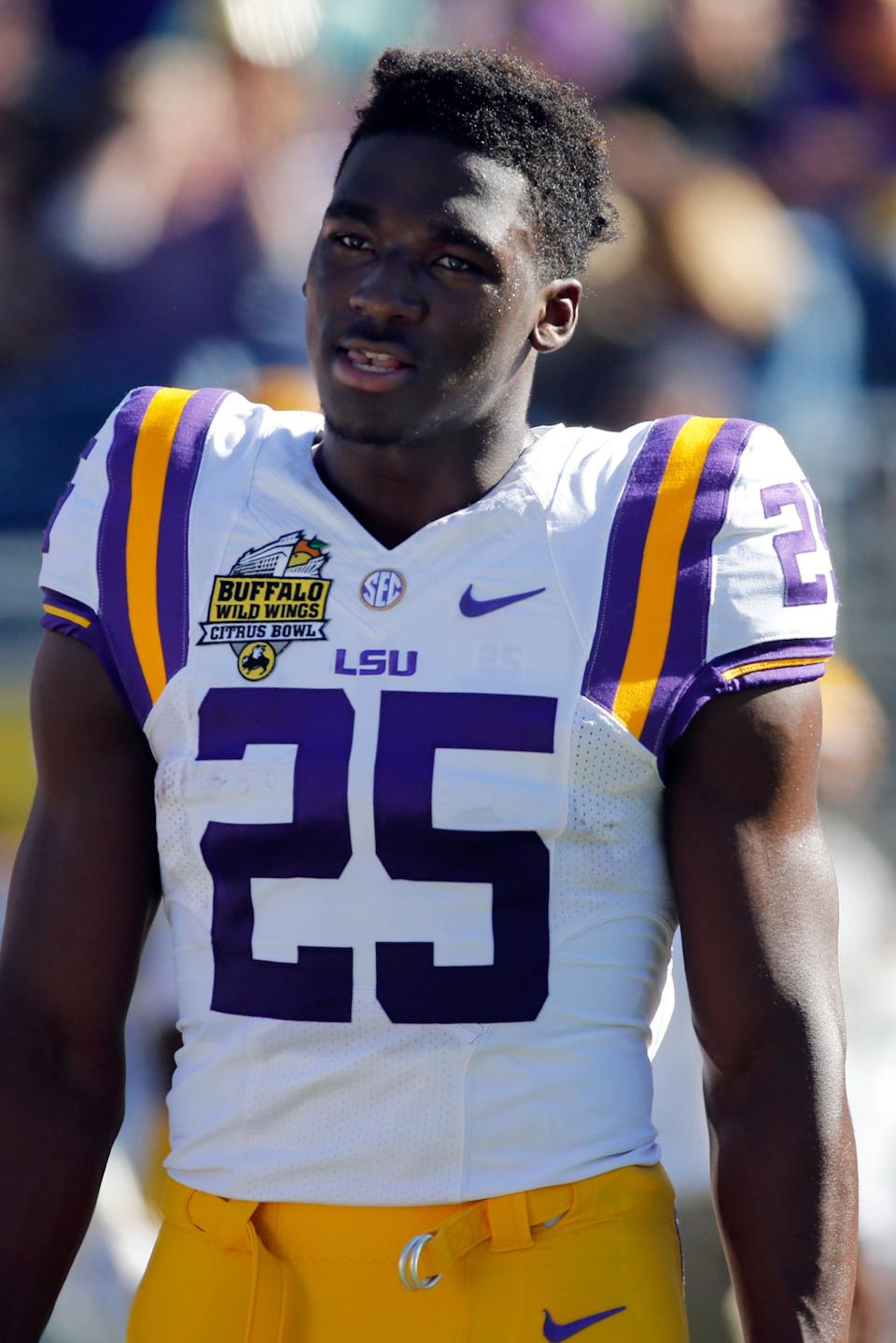 LSU Tigers wide receiver Drake Davis (25) prior to the game at Camping World Stadium on Dec 31, 2016.