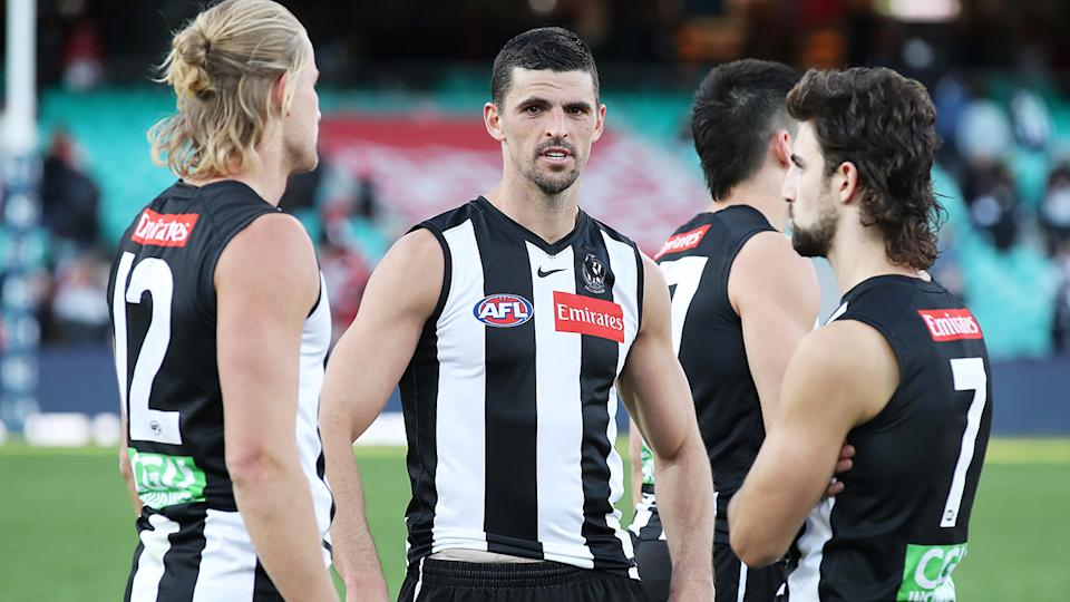 A summer of turmoil has led to Collingwood dropping to 2-7 in the first nine rounds of the 20-21 AFL season. (Photo by Matt King/AFL Photos/via Getty Images)