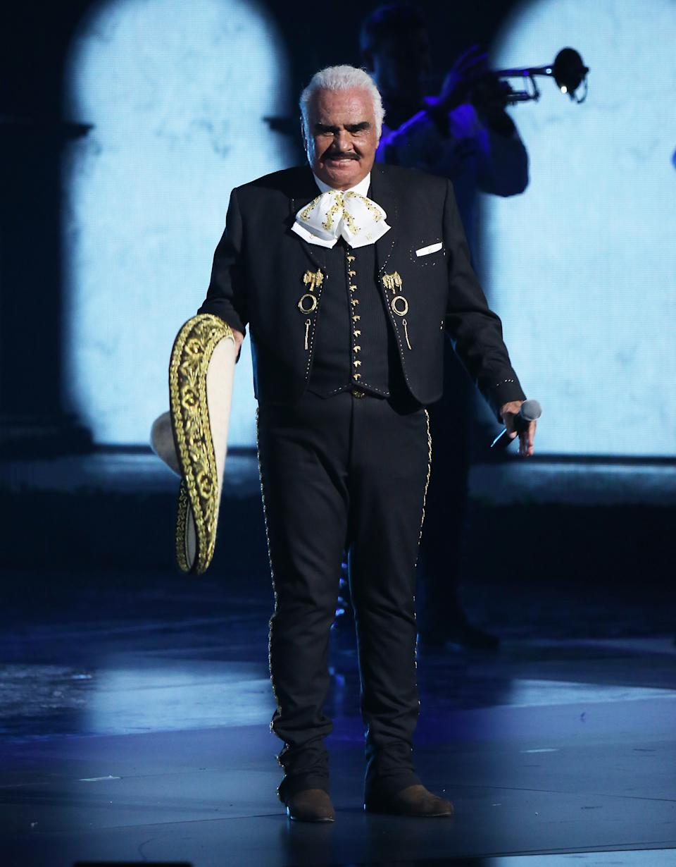 LAS VEGAS, NEVADA - NOVEMBER 14: Vicente Fernández performs onstage during the 20th Annual Latin GRAMMY Awards held at MGM Grand Garden Arena on November 14, 2019 in Las Vegas, Nevada. (Photo by Michael Tran/FilmMagic)