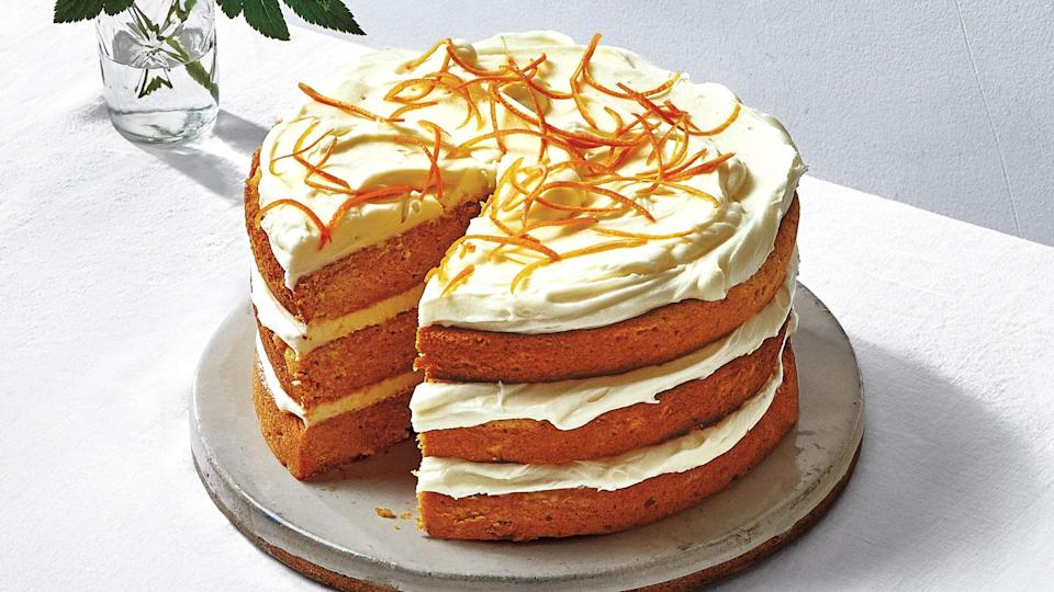 "Sweet potato stars in Amanda's deliciously moist cake, which is balanced with a hint of salted cream cheese frosting. <a href=""https://www.bonappetit.com/recipe/sweet-potato-cake-with-salted-cream-cheese-frosting?mbid=synd_yahoo_rss"" rel=""nofollow noopener"" target=""_blank"" data-ylk=""slk:See recipe."" class=""link rapid-noclick-resp"">See recipe.</a>"