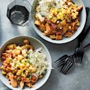 "<p>These BBQ chicken bowls are perfect for weeknight dinners—and are a great way to use up leftover chicken. They come together in just 15 minutes and are chock-full of the classic barbecue flavors you love, including saucy beans, coleslaw and potatoes. To simplify the recipe, use whatever cooked chicken you have on hand. <a href=""http://www.eatingwell.com/recipe/278423/bbq-chicken-bowls/"" rel=""nofollow noopener"" target=""_blank"" data-ylk=""slk:View recipe"" class=""link rapid-noclick-resp""> View recipe </a></p>"