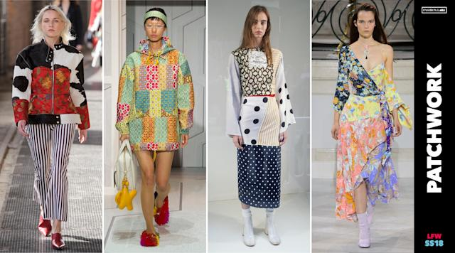 "<p><i>Sewing together mismatched prints and patterns of all shades in classic ""patchwork"" form was the popular choice at several shows, including Marques' Almeida, Anya Hindmarch, MM6 Maison Margiela, and Peter Pilotto. (Photo: ImaxTree, Art: Quinn Lemmers for Yahoo Lifestyle) </i></p>"