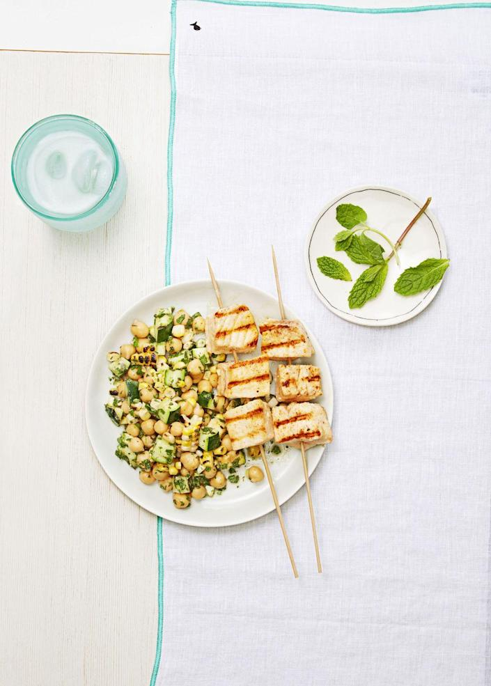 """<p>Chicken and steak get all of the grilling attention. Change that and give another protein a chance. You won't regret it. </p><p><em><a href=""""https://www.goodhousekeeping.com/food-recipes/easy/a33396/swordfish-summer-salad/"""" rel=""""nofollow noopener"""" target=""""_blank"""" data-ylk=""""slk:Get the recipe for Swordfish with Summer Salad »"""" class=""""link rapid-noclick-resp"""">Get the recipe for Swordfish with Summer Salad »</a></em> </p>"""