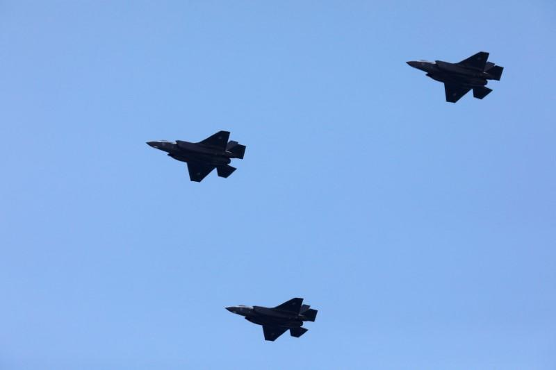 FILE PHOTO: Israeli Air Force F-35 fighter jets fly over the Mediterranean Sea during an aerial show as part of the celebrations for Israel's Independence Day marking the 70th anniversary of the creation of the state, in Tel Aviv