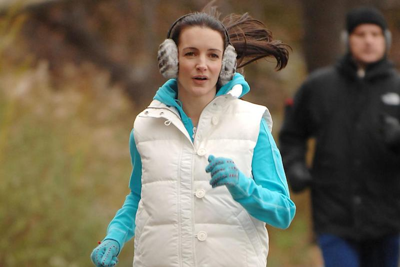 Kristin Davis during filming for the 2008 'Sex and the City' film: Rex Features