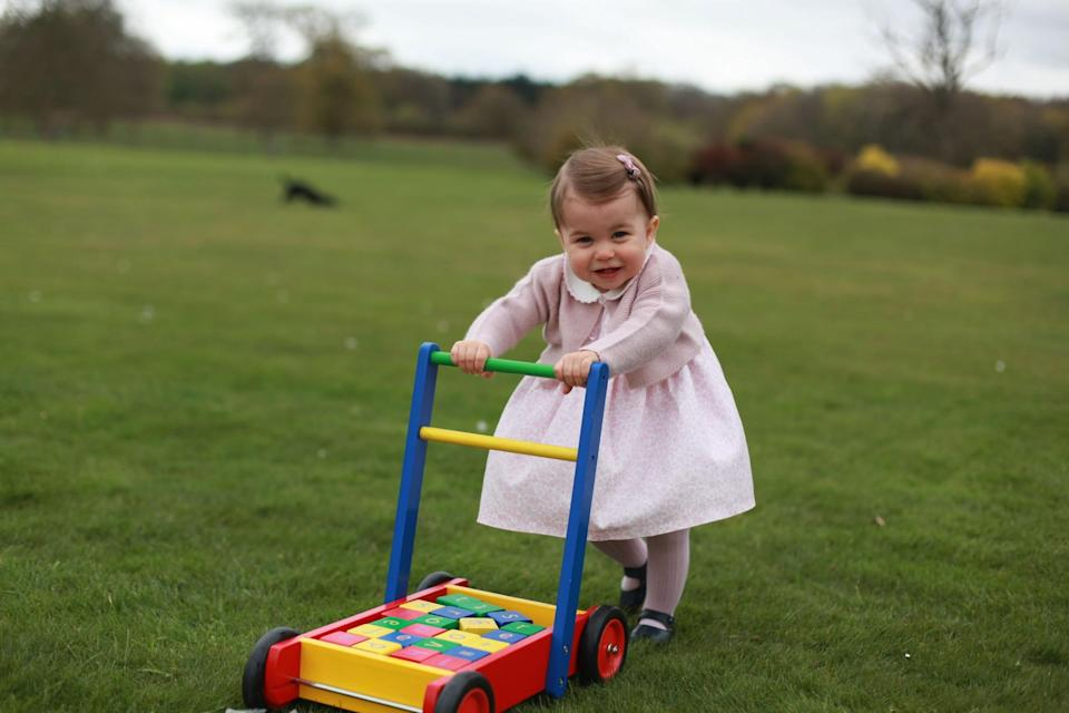 <p>Charlotte is pretty in pink as she plays in the garden just before her first birthday.<br><i>[Photo: PA]</i> </p>
