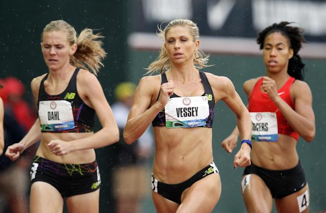 EUGENE, OR - JUNE 22: Maggie Vessey competes in a preliminary round of the women's 800 meter run during Day One of the 2012 U.S. Olympic Track & Field Team Trials at Hayward Field on June 22, 2012 in Eugene, Oregon. (Photo by Christian Petersen/Getty Images)