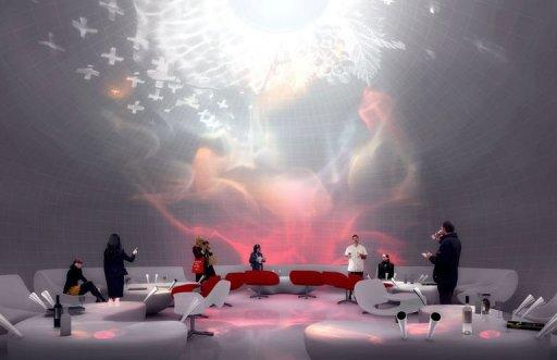 Computer generated image made available by Bordeaux's City Hall of the polysensorial room at the future Wine Culture and Tourism centre of Bordeaux, designed by architecture agency X-TU from Paris and the scenography agency Casson Mann from London, scheduled to open its doors in 2014