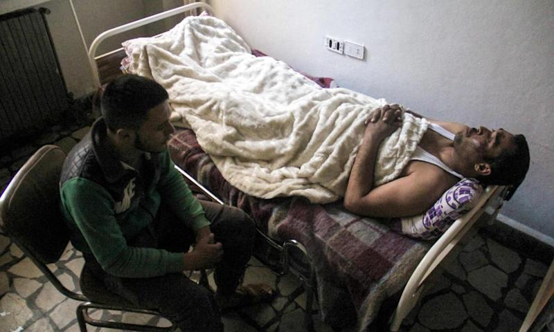 Hassan Youssef, a victim of the gas attack in Khan Sheikhun, receiving medical care in Idlib, Syria.