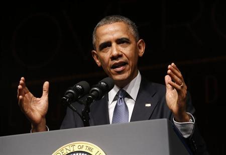 U.S. President Barack Obama speaks at a Civil Rights Summit to commemorate the 50th anniversary of the signing of the Civil Rights Act at the LBJ Presidential Library in Austin