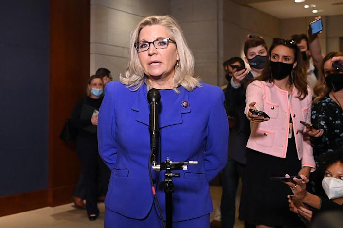 Rep. Liz Cheney (R-Wyo.) speaks to the media at the US Capitol in Washington, D.C, on May 12. (Photo: MANDEL NGAN via Getty Images)