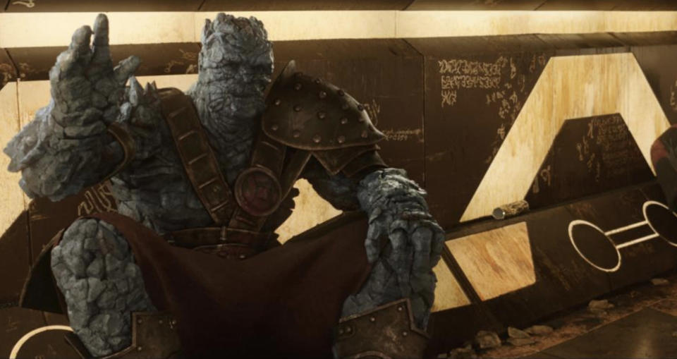 The scene-stealing alien warrior was played by director Taika Waititi. (Photo: Marvel Studios)