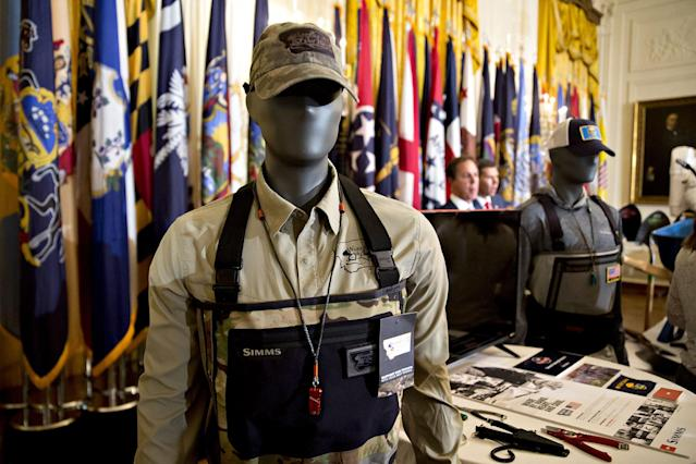"<p>Simms Fishing Products merchandise is on display in the East Room of the White House ahead of a ""Made in America"" event, with companies from 50 states featuring their products, in Washington, D.C., on July 17, 2017. (Andrew Harrer/Bloomberg via Getty Images) </p>"