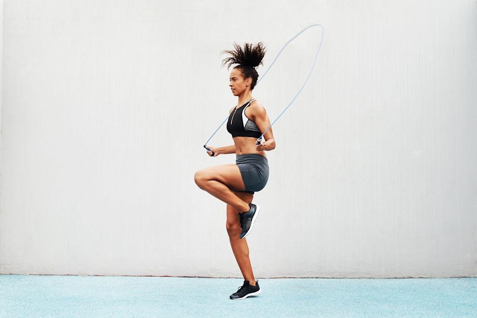 """<p>An affordable and compact piece of exercise equipment, the jump rope is a perfect staple for any home gym or gym bag. This small but mighty pick can completely transform your workout. That's why we sat down with the jump rope queen herself,<strong>psychologist and fitness trainer</strong> <strong><a href=""""https://janinedelaney.com/"""" rel=""""nofollow noopener"""" target=""""_blank"""" data-ylk=""""slk:Dr. Janine Delaney"""" class=""""link rapid-noclick-resp"""">Dr. Janine Delaney</a></strong>, known for her sculpted physique and impressive jump rope moves on <a href=""""https://www.instagram.com/janine_delaney/?hl=en"""" rel=""""nofollow noopener"""" target=""""_blank"""" data-ylk=""""slk:Instagram"""" class=""""link rapid-noclick-resp"""">Instagram</a>, to learn more about the sport and what to look for when choosing the ultimate jump rope.</p><p><strong>""""</strong>Jumping rope is a great way to lose weight and burn fat and calories while having fun,"""" Delaney says. """"Most people think of jumping rope as a sport for children, but it has many benefits for adults as well, especially for individuals over the age of 40."""" Delaney herself actually started jumping rope at the age of 43, mainly because she wasn't a fan of running and was looking for another form of cardio. </p><p>When it comes to the benefits of jumping rope, the advantages are vast. """"Jumping rope increases your natural endorphins, which puts you in a good mood and increases your energy and libido,"""" Delaney says. """"What most people don't realize is that jumping rope will actually <strong>burn more fat and calories than running, swimming, or biking</strong>. It not only puts your cardiovascular system to use, but also helps to build muscle strength, improve coordination, and even boost metabolism.""""</p><p>Delaney says that you don't have to be athletic or coordinated to start jumping rope, but adds that <strong>making sure your rope is sized correctly to your height is critical as well as maintaining proper form and a little practice</strong>. If you're a jump ro"""