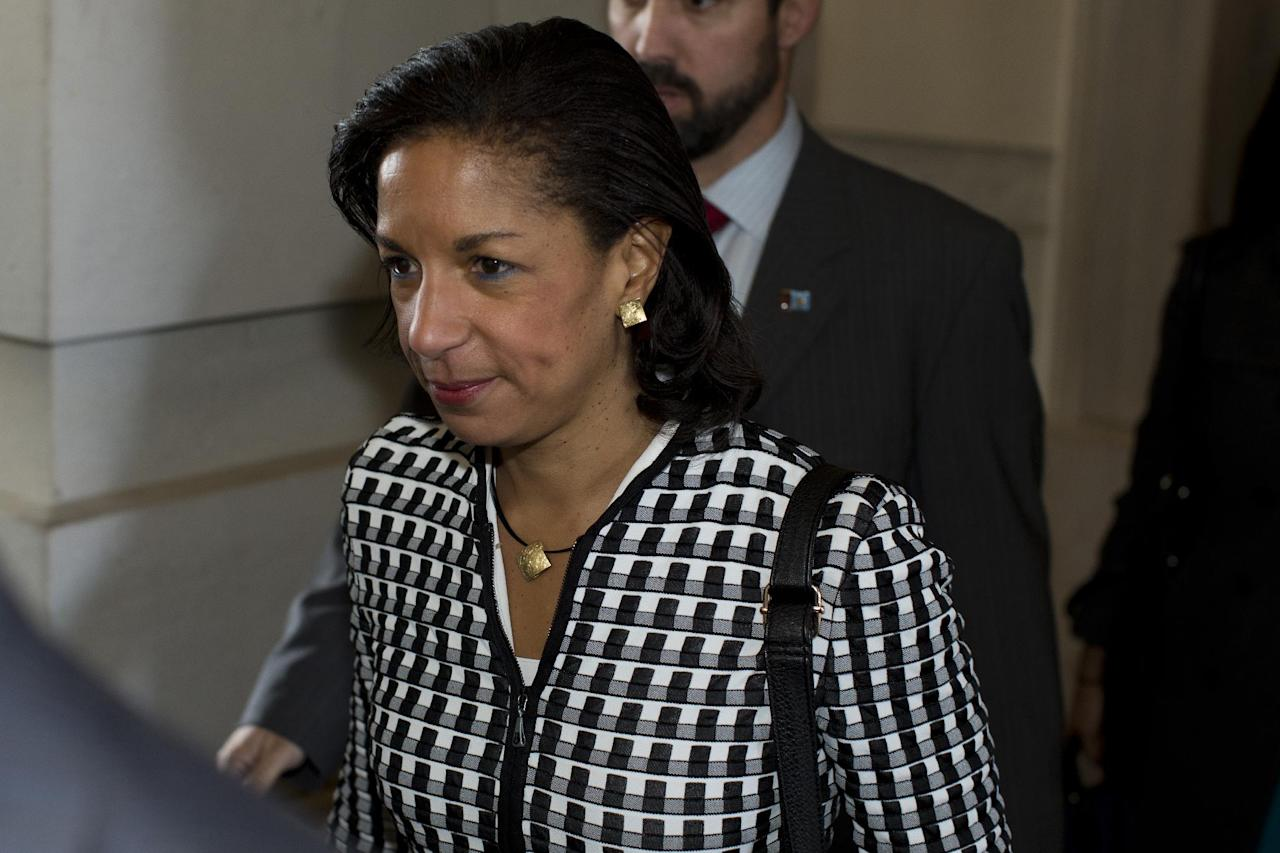 UN Ambassador Susan Rice leaves a meeting on Capitol Hill in Washington, Wednesday, Nov. 28, 2012, with Sen. Susan Collins, R- Maine, and Sen. Bob Corker, R-Tenn., about the Benghazi terrorist attack. Rice continued her fight Wednesday to win over skeptics in the Senate who could block her chances at becoming the next U.S. secretary of state. Republican lawmakers said they were even more troubled after face-to-face meetings with her over the handling of the Sept. 11 deadly attack on the U.S. Consulate in Benghazi, Libya. (AP Photo/ Evan Vucci)