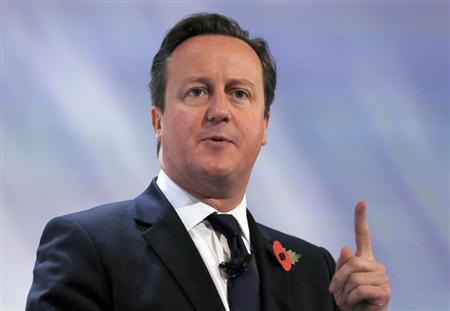 Britain's Prime Minister David Cameron speaks at the annual CBI conference in central London