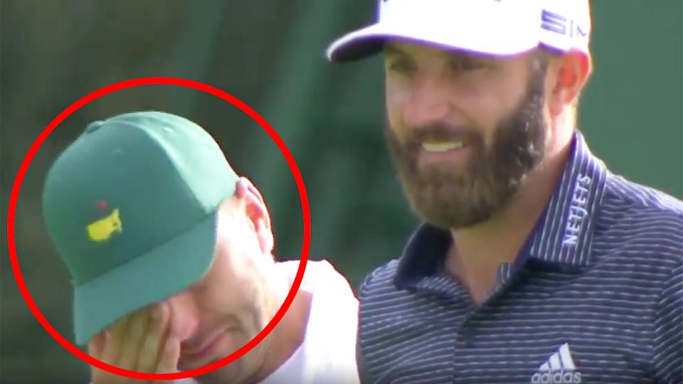 Pictured here, Austin Johnson wipes away tears before his brother wins his first green jacket.