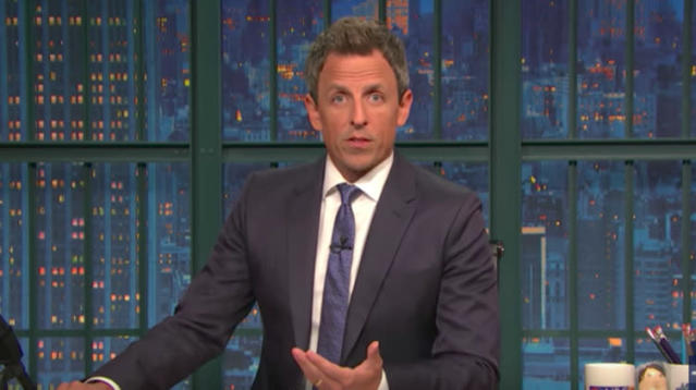 """After the deadliest mass shooting in modern U.S. history left at least 58 people dead, plus the gunman, and 500 injured Sunday night, """"Late Night"""" host Seth Meyers said he's had enough of Congress' knee-jerk reaction to gun violence."""