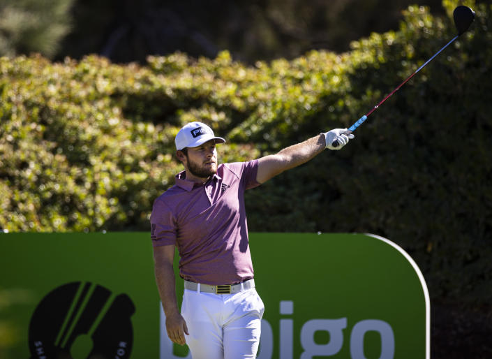 Tyrrell Hatton watches his tee shot at the sixth hole during the third round of the CJ Cup golf tournament at Shadow Creek Golf Course, Saturday, Oct. 17, 2020, in North Las Vegas. (Chase Stevens/Las Vegas Review-Journal via AP)