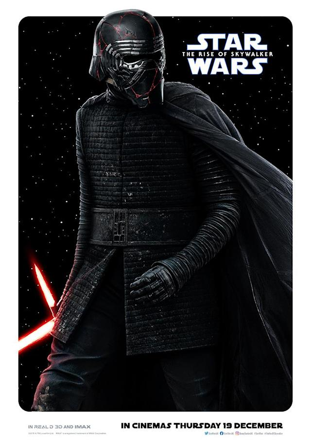 Adam Driver's dark lord has reforged his iconic helmet, and is now serving as the Supreme Leader of the First Order. (Disney)