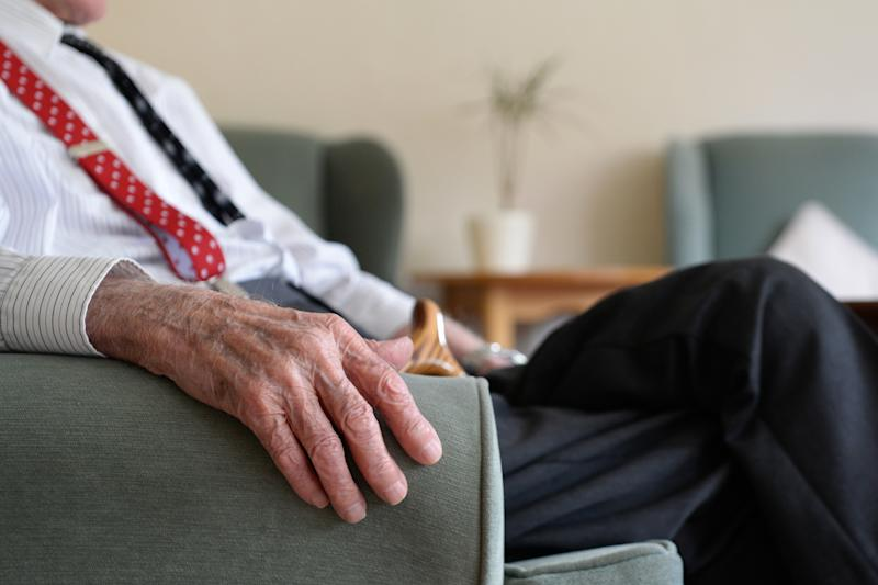 An elderly man at Rowheath House retirement home in Birmingham.
