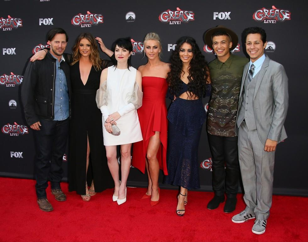 We've got (fashion) chills....and they're multiplying. Last night, the cast of Fox's Grease: Live! got together for a network event and looked so freaking good. Julianne Hough stunned in a bright red dress, and her glam smoky eye and pulled-back, teased pony added the perfect amount of edge.Vanessa Hudgens, who played Rizzo, showed off her abs in a sleek but boho navy frock that was cut out in the center and had a plunging V-neck. She let her hippie vibes run wild with a long mane of curls and a smudged smokey eye look of her own.While those two definitely won the red carpet last night, all the stars showed up looking hot. The leading ladies were joined by Carly Rae Jepsen and Kether Donohue (Frenchie and Jan, respectively) and some of the dudes as well. Check out all their amazing looks below!(image)JB Lacroix/WireImage(image)Gregg DeGuire/WireImage(image)Gregg DeGuire/WireImage(image)JB Lacroix/WireImageRelated: 'Grease: Live' Star Julianne Hough Talks Quick Changes, Cameos, And Transforming Into 'Sexy Sandy'