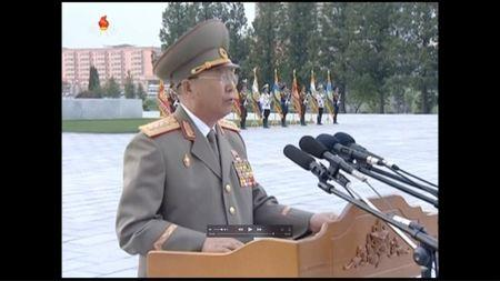 North Korea's army chief of staff Ri Yong Gil makes a speech during an outdoor rally marking the 62nd anniversary of the Korean armistice in Pyongyang July 24, 2015, in this still image taken from KRT file video footage.  REUTERS/KRT via Reuters TV