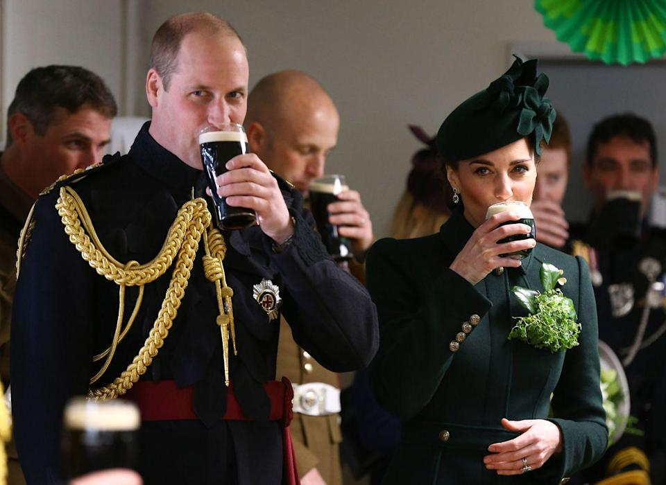 <p>Didn't anyone tell you it's rude to refuse a beer in Ireland? Well, apparently William and Kate are privy to this custom, as they both took big gulps of the pint they were offered during a St. Patrick's Day celebration in 2019.</p>