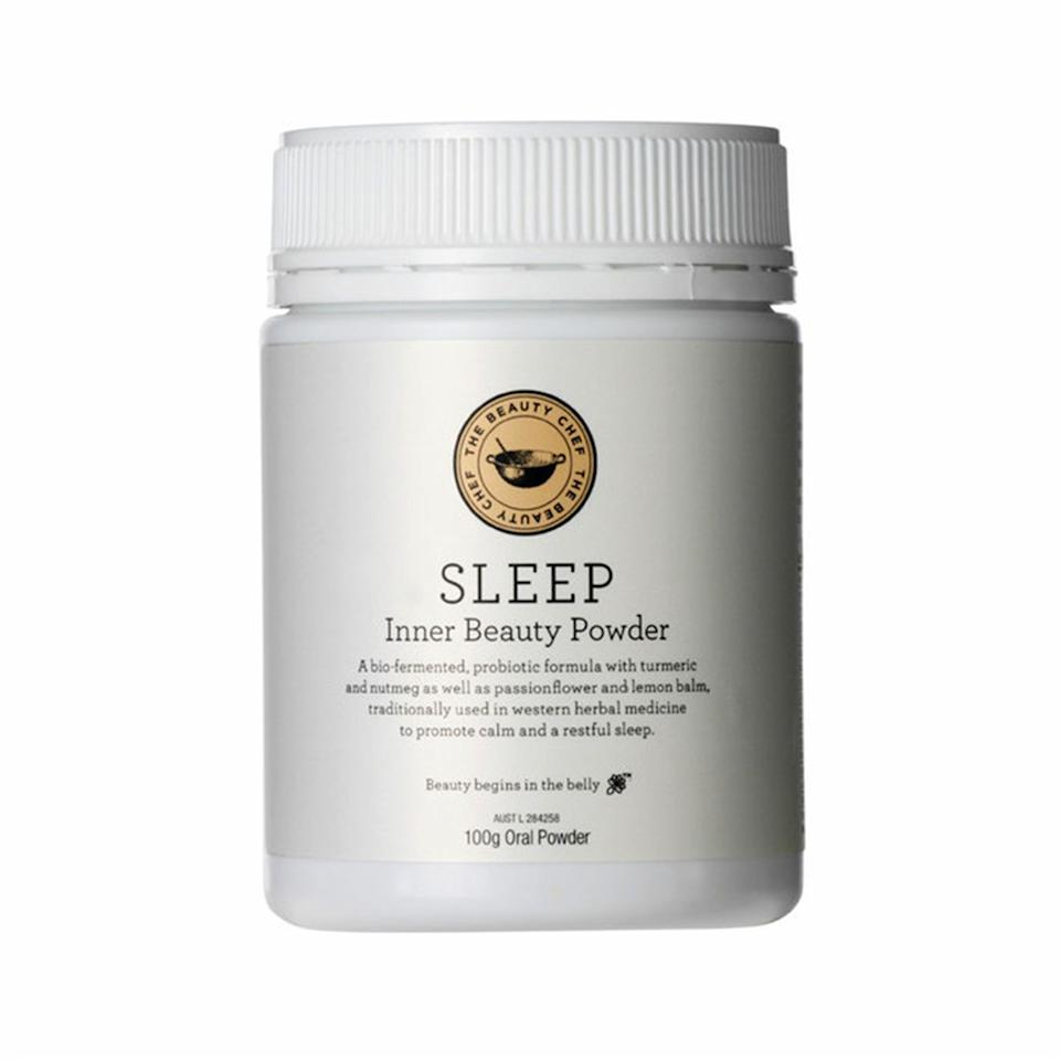 "<p>If chews or gummies aren't your thing, try the Sleep Inner Beauty Powder by The Beauty Chef. This passionflower, lemon balm, and turmeric formula is best served stirred into warm milk. Mix one teaspoon with your milk of choice and take one hour before bed for a restful night's sleep.</p> <p><strong>$55 (<a href=""https://www.sephora.com/product/sleep-inner-beauty-powder-P430950"" rel=""nofollow"">Shop Now</a>)</strong></p>"