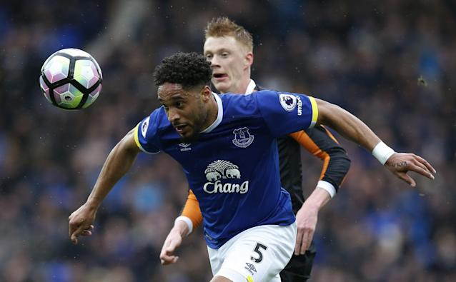 <p>Everton's Ashley Williams in action with Hull City's Sam Clucas </p>