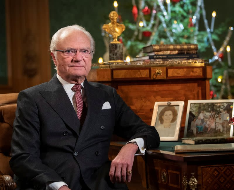 FILE PHOTO: Sweden's King Carl Gustaf poses for a photo before recording his annual Christmas Day speech to the nation, at Stockholm Castle