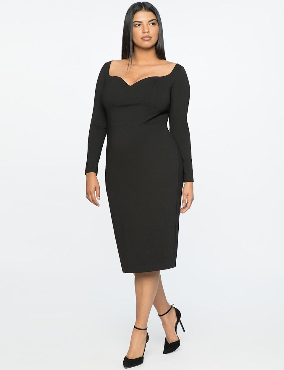 """<p>This sweetheart neckline adds a feminine detail to an ordinary LBD. Chances are you'll wear this dress over and over, well past the holidays. <br>Drape-front V-neck dress, $100, <a rel=""""nofollow noopener"""" href=""""https://fave.co/2zkGB4F"""" target=""""_blank"""" data-ylk=""""slk:eloquii.com"""" class=""""link rapid-noclick-resp"""">eloquii.com</a> </p>"""