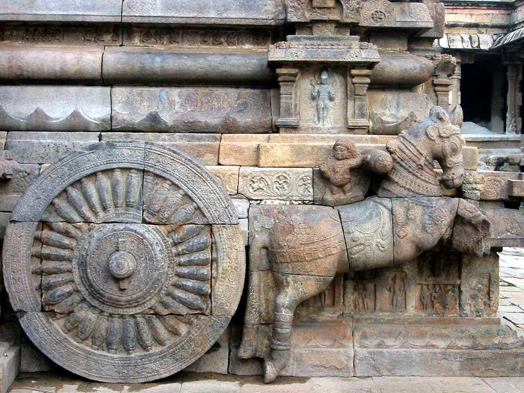 Detail of a carving at Darasuram Temple. The temple of Airavateswara in Darasuram is an architectural wonder. It was built by Rajaraja Chola II in the 12th century. This one of four great temples built by the Chola dynasty. The temple is dedicated to Lord Shiva and it is a storehouse of artwork. The main Mandapam is in the form of a chariot drawn by horses. The pillars of the mandapam are beautifully decorated with exquisite carvings. Well maintained by the Archaelogical Society of India and protected by UNESCO as world heritage site, the Darasuram temple is 3 km from Kumbakonam, Tamilnadu.