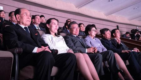 South Korean President Moon Jae-in, his wife Kim Jung-Suk, president of the Presidium of the Supreme People's Assembly of North Korea Kim Young Nam and Kim Yo Jong, the sister of North Korea's leader Kim Jong Un, watch North Korea's Samjiyon Orchestra's performance in Seoul, South Korea, February 11, 2018. Yonhap via REUTERS