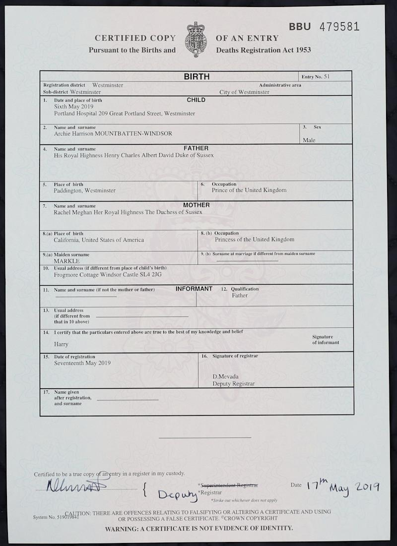 The birth certificate of Archie Harrison Mountbatten-Windsor, son of the Duke and Duchess of Sussex, who was born at the Portland Hospital in London. (Photo by Jonathan Brady/PA Images via Getty Images)
