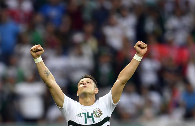 Mexico's Javier Hernandez celebrates at the end of the group F match between Mexico and South Korea at the 2018 soccer World Cup in the Rostov Arena in Rostov-on-Don, Russia, Saturday, June 23, 2018. (AP Photo/Martin Meissner)