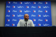 Philadelphia 76ers head coach Doc Rivers pauses while speaking to the media before a preseason NBA basketball game against the Brooklyn Nets, Monday, Oct. 11, 2021, in Philadelphia. Rivers says the franchise still wants disgruntled All-Star guard Ben Simmons to the return to the team. (AP Photo/Matt Slocum)