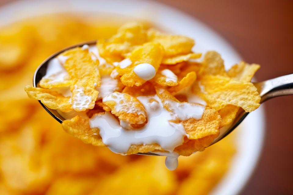corn flakes with milk breakfast
