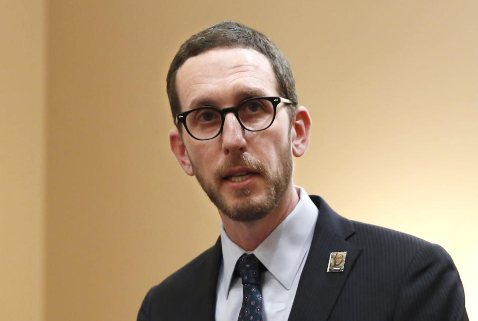FILE - In this Jan. 21, 2020, file photo, state Sen. Scott Wiener, D-San Francisco, speaks at a news conference in Sacramento, Calif. Last year, California Gov. Gavin Newsom called on the state Legislature to ban fracking by 2024. On Wednesday, Feb. 17, 2021, state Sen. Scott Wiener, a Democrat from San Francisco, introduced legislation that would ban the issuance or renewal of fracking permits starting on Jan. 1, 2022. The bill would also ban all fracking in California, along with other forms of oil extraction such as cyclic steaming, by Jan. 1, 2027. (AP Photo/Rich Pedroncelli, File)