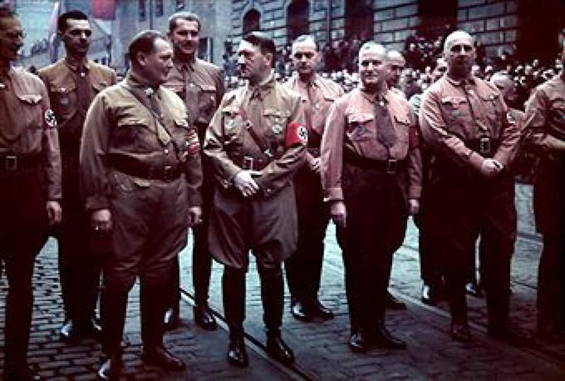 Top Nazi Party members march in remembrance of 1923 Beer Hall Putsch, Munich, Germany, November 9, 1938. Front row, from left, Friedrich Weber, Hermann Goering (1893 - 1946), Adolf Hitler (1889 - 1945), Ulrich Graf, and unidentified; back row, Alfred Rosenberg (1883 - 1946) (third from left) and unidentifieds. Accompanied by several rallies, the ceremony was a direct precursor to the events of the Kristallnacht (Night of Broken Glass), the pogrom aimed at Jewish Germans and their property, which began that night. (Photo by Hugo Jaeger/Timepix/Time Life Pictures/Getty Images)