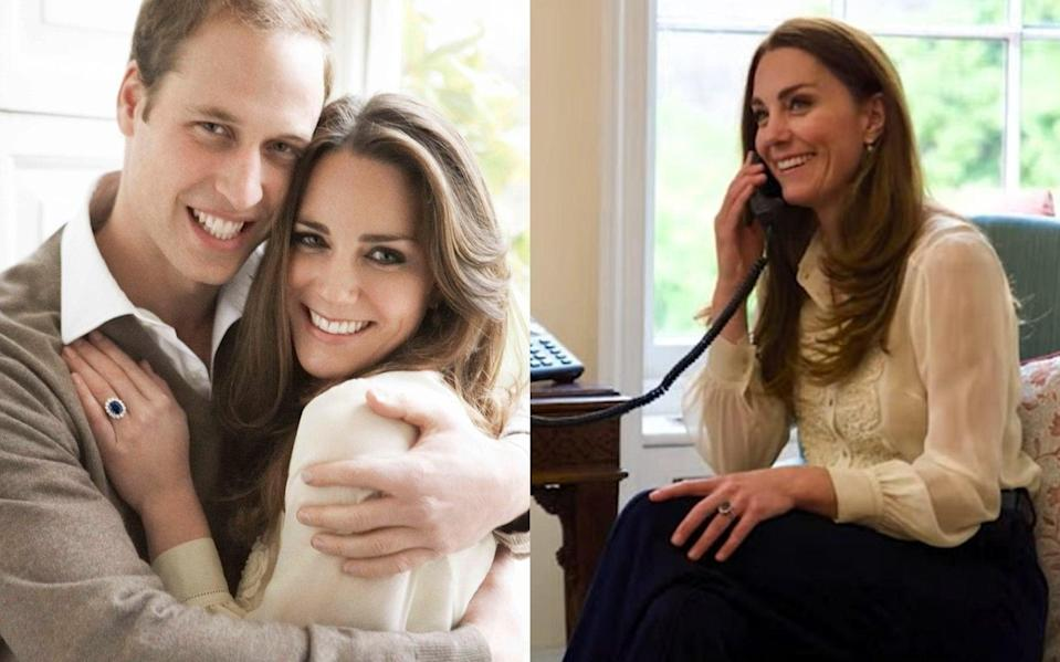The Duchess of Cambridge wearing the same Whistles blouse in her engagement portrait (2010) and on 6th May 2021