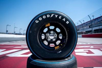 """In keeping with the theme of the Official Throwback Weekend of NASCAR, Goodyear will replace the yellow """"Eagle"""" logo on the sidewalls of its racing tires with a vintage """"Blue Streak"""" sidewall design. The Blue Streak tires reflect the design of NASCAR tires used in the 1960's and 1970's. (NASCAR images for Goodyear)"""