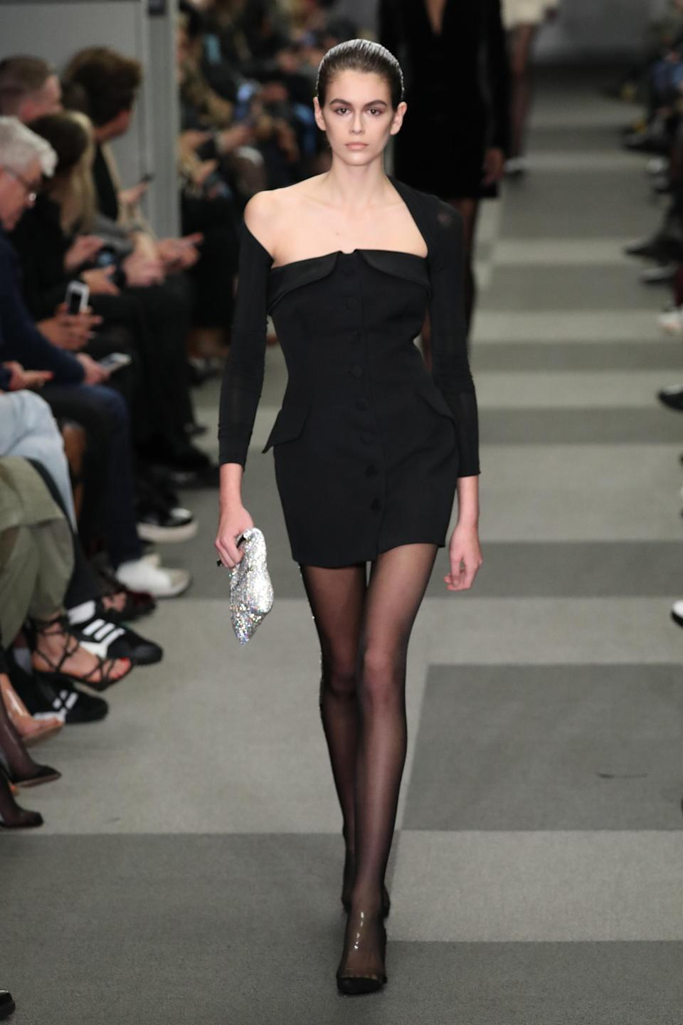 <p>The 16-year-old daughter of Cindy Crawford continued her runway rule with an appearance at the Alexander Wang show. <em>[Photo: Getty]</em> </p>