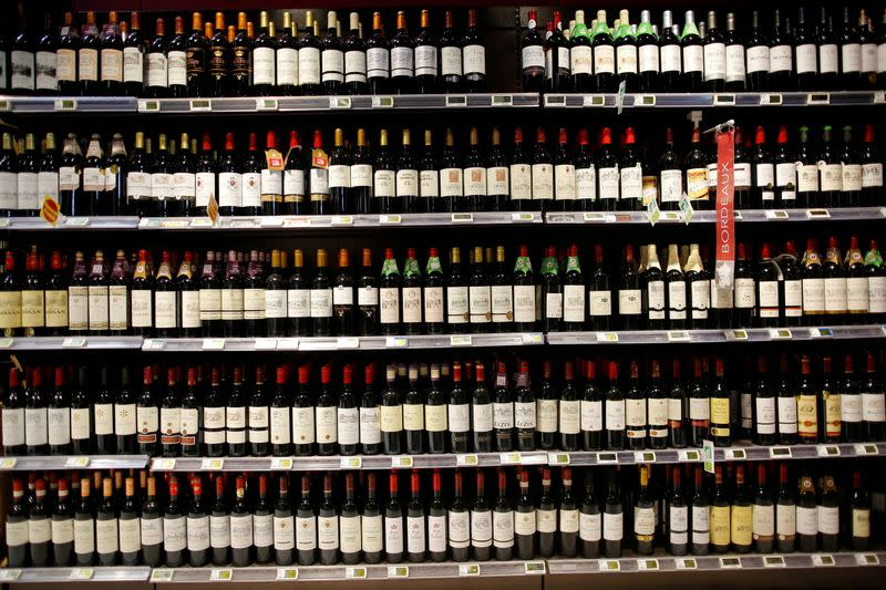FILE PHOTO: Bottles of French wine are displayed on sale in a supermarket in Vertou