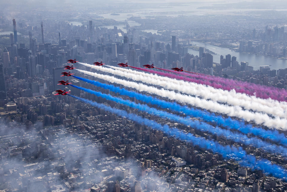 Image of the Royal Air Force Aerobatic Team, The Red Arrows flying over New York streaming the Red, White and Blue (Picture: UK MOD/Crown 2019)