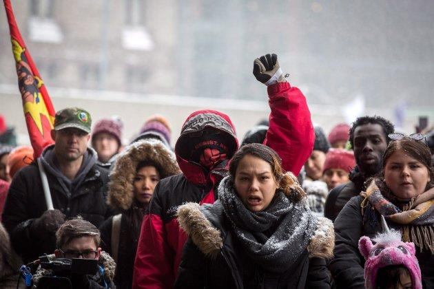 Protesters gather in Nathan Phillips Square in Toronto on Feb. 10, 2018 to condemn Gerald Stanley's not-guilty verdict in the shooting death of Colten Boushie.
