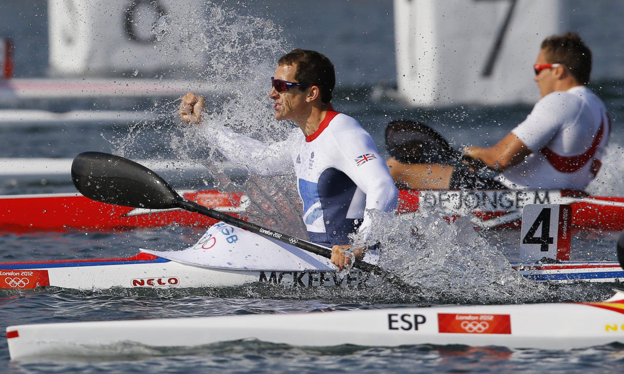 Britain's Ed Mckeever celebrates winning the men's kayak single (K1) 200m final A at the Eton Dorney during the London 2012 Olympic Games August 11, 2012.      REUTERS/Darren Whiteside (BRITAIN  - Tags: OLYMPICS SPORT CANOEING TPX IMAGES OF THE DAY)