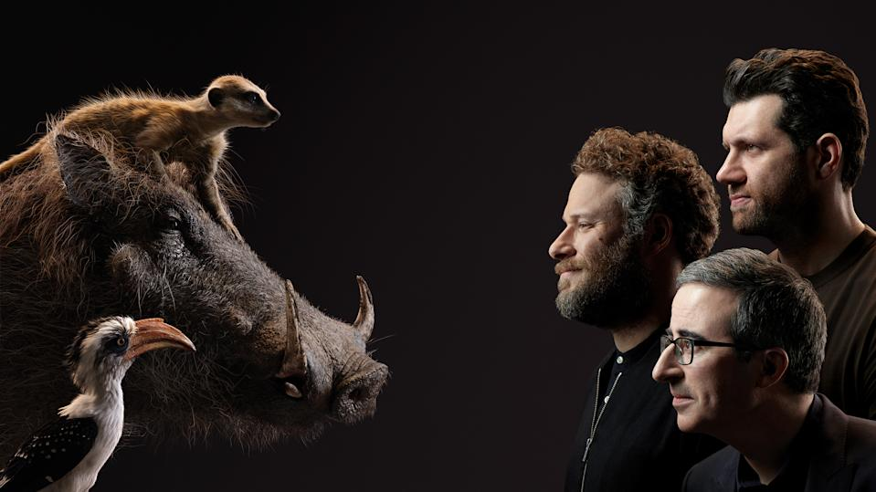 Billy Eichner and Seth Rogen as the incorrigible Timon and Pumba, and John Oliver as Zazu. Photo: Disney