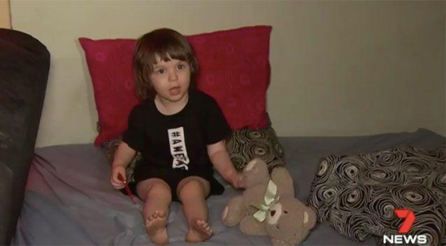 Little Lincoln Baxter was asleep when the Molotov cocktail was thrown through a window. Source: 7 News